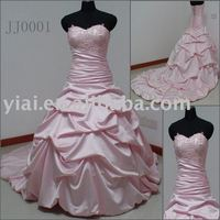 JJ0001 Ball Gown Long Tail wedding dress with Sweetheart Neckline pink wedding dresses