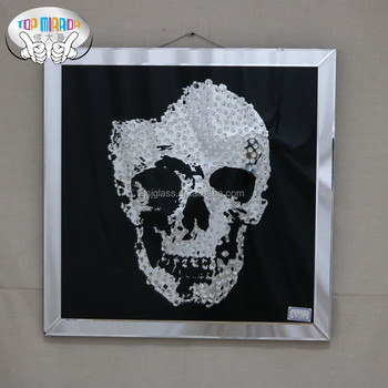 TOP MIRROR M-1015 80*80CM handcrafted Skull Head crystal glass painting for home decoration