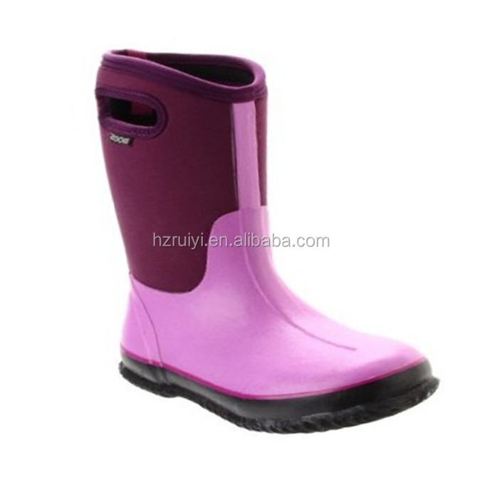 kids neoprene boots with handle hole,durable winter warm boots,customized waterproof rubber boots