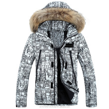Winter kleding aangepaste outdoor down jas mannen lederen jas, winter apparel