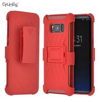 Red Heavy Duty Armor Holster Kickstand Full Body Protective Hybrid Case Cover With Belt Clip for Samsung Galaxy S8
