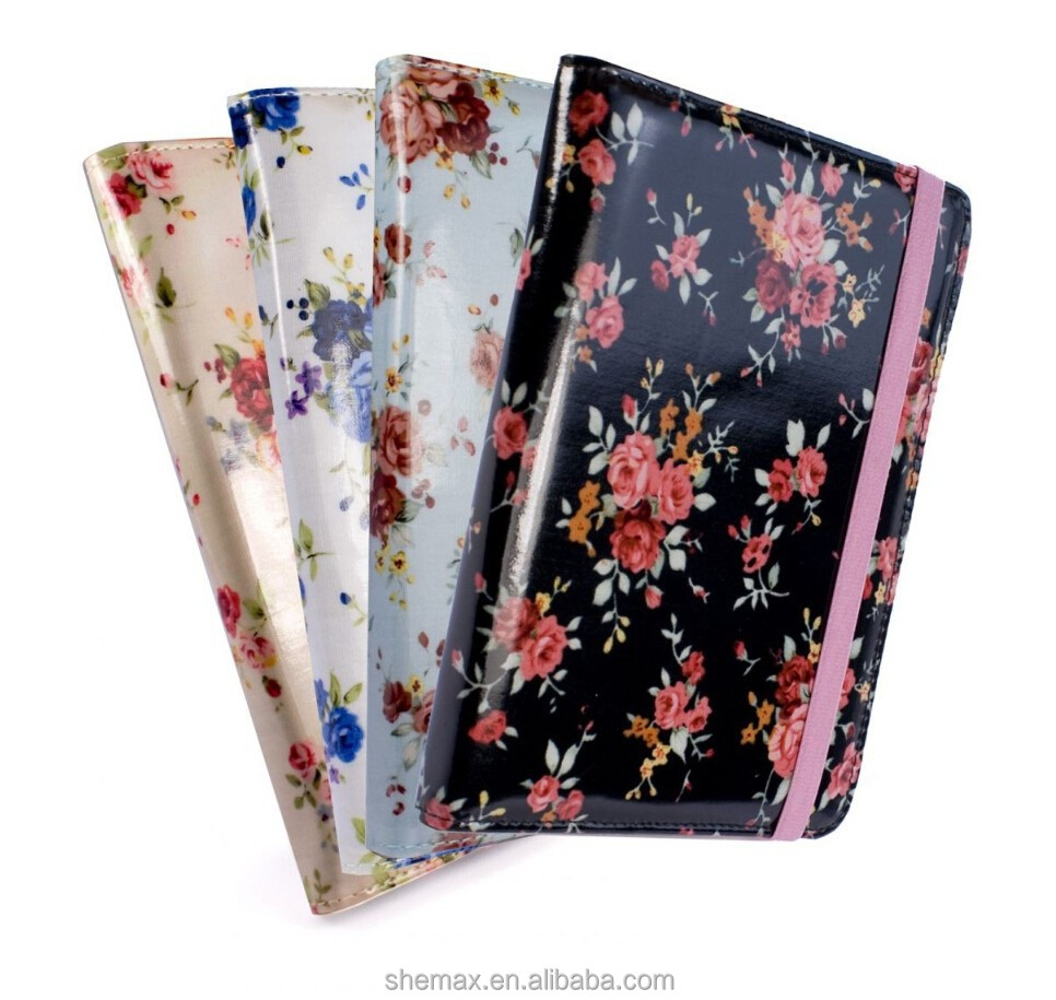 "Slim Flower Book-Style fabric case cover for Amazon Kindle 4 / Touch / Paperwhite / 6"" E-Ink e-reader"