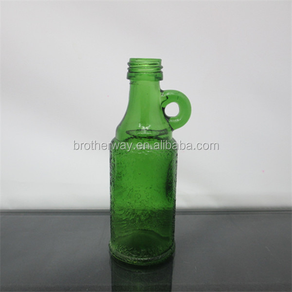 wholesale green 50ml glass spirit bottles alcohol bottles with metal cap and handle high quality