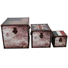 Leather furniture british flag decorative wooden storage trunks painted