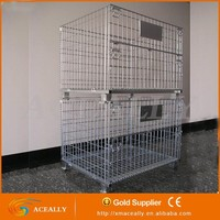 Mesh Box Wire Cage Metal Bin Storage Container metal forklifts stacking containers heavy duty storage container with casters