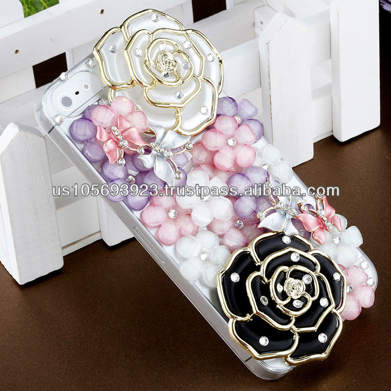 IMPRUE Flower Series Rose 3D Crystal Bling Stone Case For Apple Iphone5 With Retailer Package