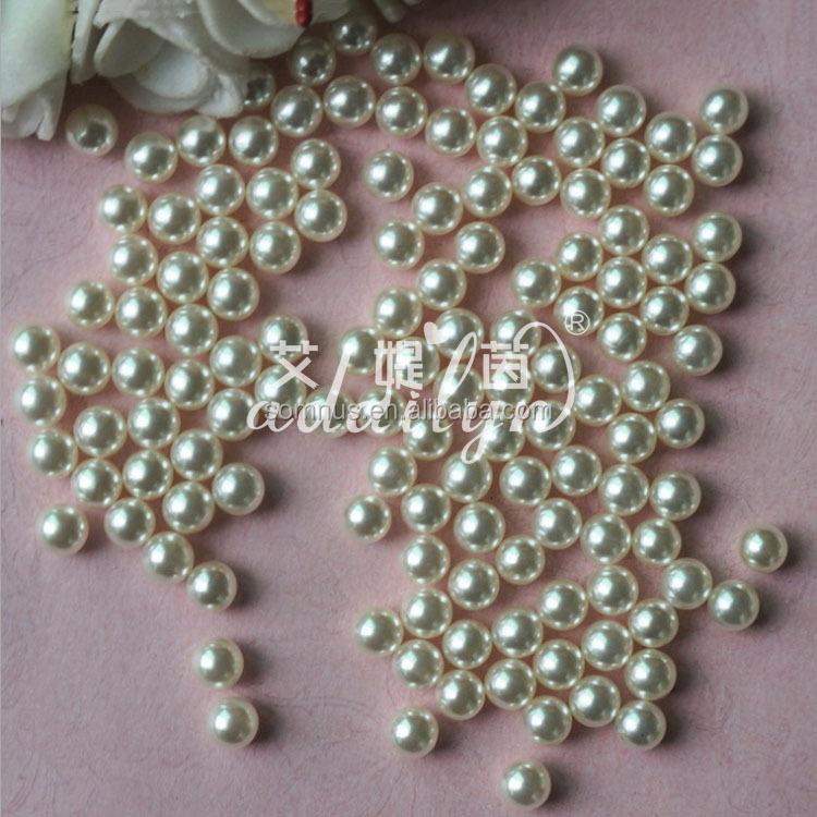 100pcs/bag 6-14mm white abs plastic decoration pearl loose pearls no holes in bulk