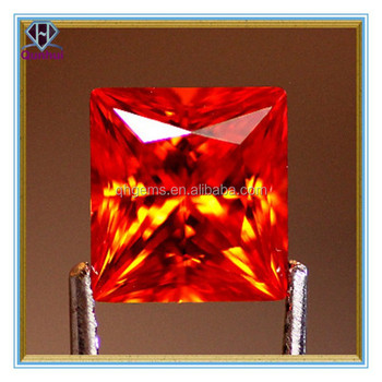 Hot-sale square shaped orange cubic zirconia