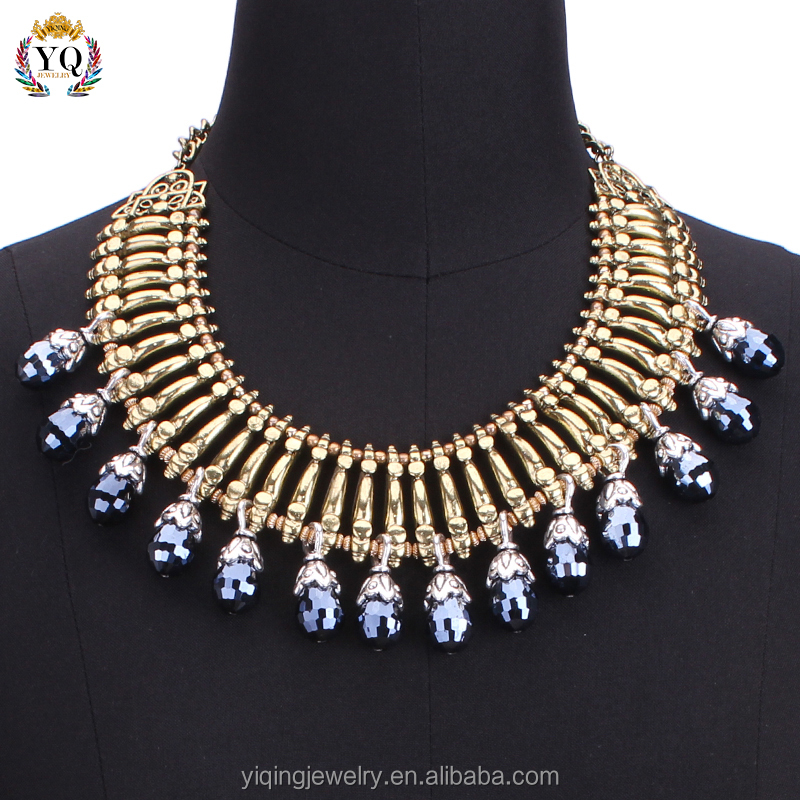 NYQ-00339 2016 artificial fashion jewelry vintage antique bronze crystal necklace