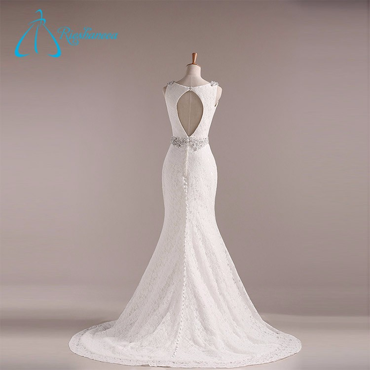 Lace Beading Crystal Pearls V Neck Mermaid Sexy Wedding Dress