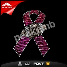 Crytal Stones Iron on Transfer Pink Ribbon Rhinestone Football Appliques for Clothing