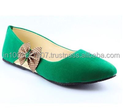 Classic Green Suede Bow Series Genuine Leather Belly Shoes