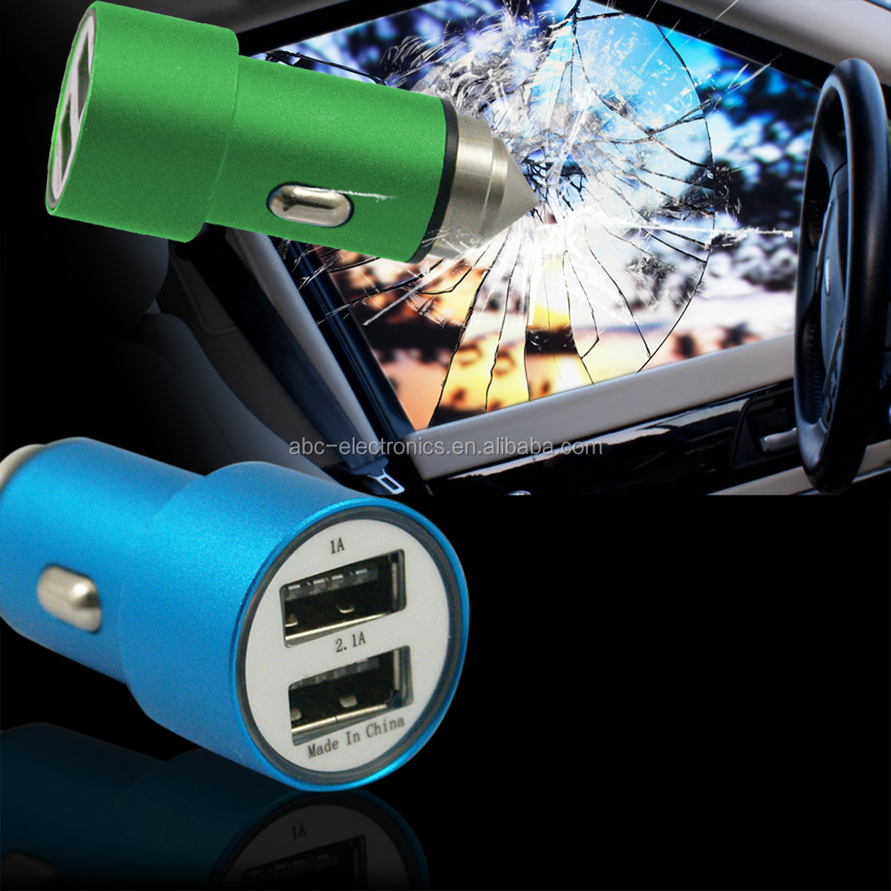 2016 New Products Mobile Phone Accessory Short Circuit 2 Usb Port Car Charger With Safety Hammer For Apple Phone
