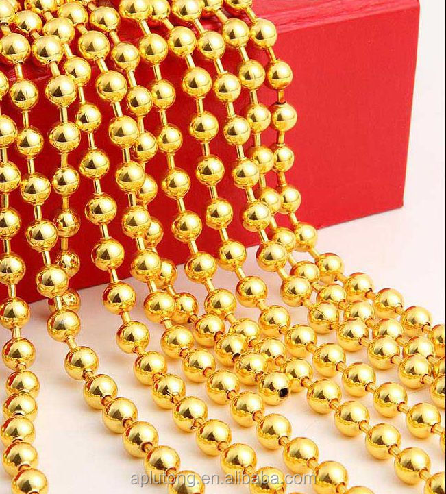 Metallic shiny decorative beaded ball chain curtain for Christmas decoration