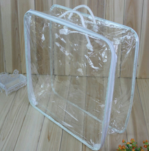 Clear PVC plastic Steel wire frame bag for rugs and blankets with zipper Home textile bags
