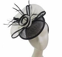 ABPF Black&White Sinamay Base Fascinators With Feather & Headband Derby Tea Party Hats