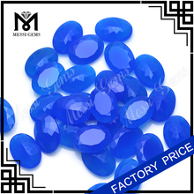 oval natural cut loose blue agate stones/chinese agate stone