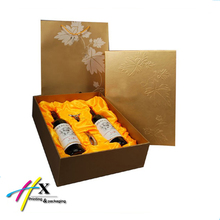 customized luxury paperboard box bag set packaging wine silk insert for gift