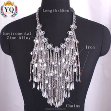 NYQ-00815 fashionable statement design silver plated iron metal long chain tassel necklace