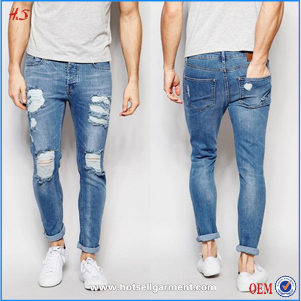 latest fashion wholesale blank mens fashion ripped pants denim men's jeans