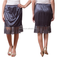 Western Style Ladies 100% Polyester Sheer Skirt Extender Mocha Lace Slip Skirt Wholesale