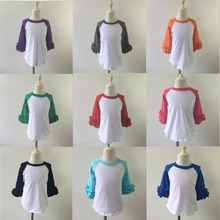 Baby girls Infant/toddler Cotton ruffle icing raglan T shirt baby kids t shirts girls raglan T shirt baby girls boutique