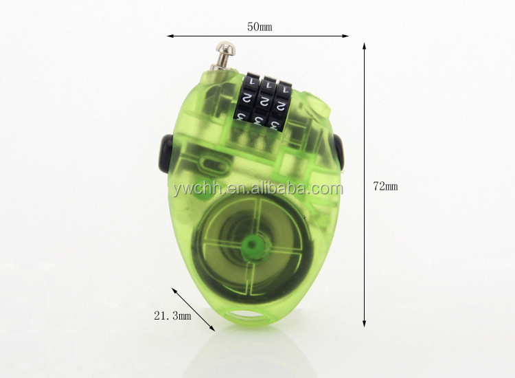 Plastic shell snowboard cable lock SKI cable lock combination lock