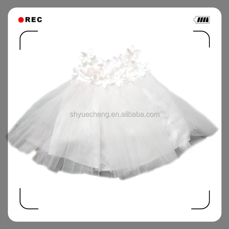 high quality white sleeveless girl fancy frocks