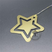 Thanktree metal gift chemical etching star shape gold bookmark