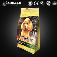 Popular pet food packaging box bottom bag with slider/flat bottom bag with zipper