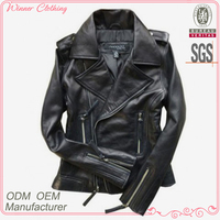 Cool and sexy long sleve leather jacket with multiple zipper
