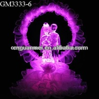 Wholesale LED color changing crystal bride and groom