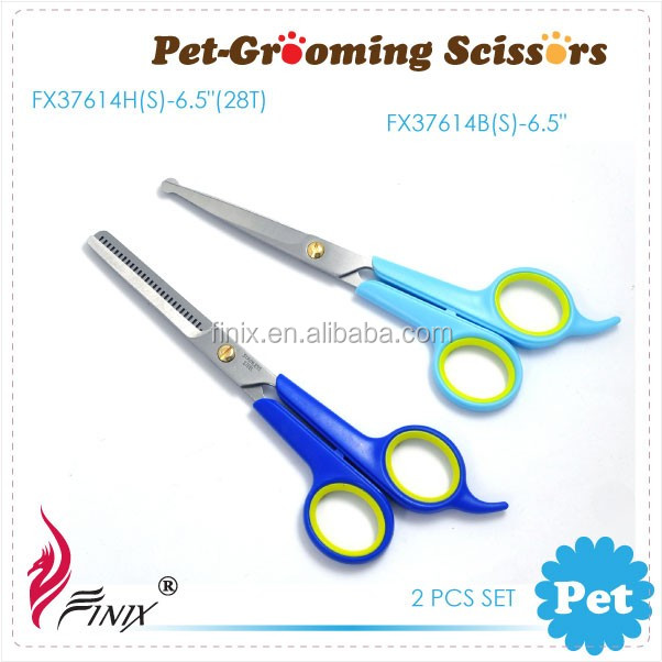 Pet Grooming Scissors Ball (Round) Safety Tip & Thinning Scissors