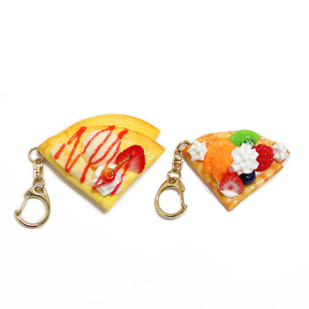 promotion gift plastic food handicraft pancake keychain