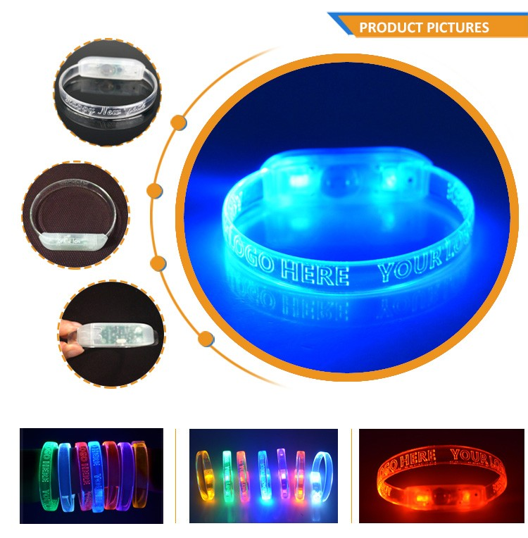 2017 New Products Factory Wholesale Silicon Flashing Light Up Led wristband TZ-W230M