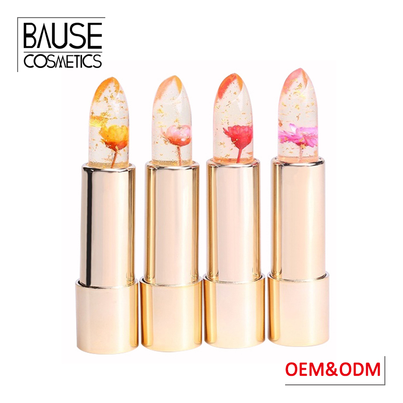 Private label waterproof cosmetic lipstick with flower color changing fruit flavored jelly flower lipstick