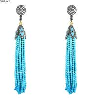 18k Gold Pave Setting Diamond Gemstone Turquoise Beads Evil Eye Tassels Earrings Jewelry