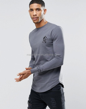 High Quality Mens Gym Long Sleeve T Shirt Longline Curved Hem T Shirt Cotton Spandex Fitted T Shirt Wholesale