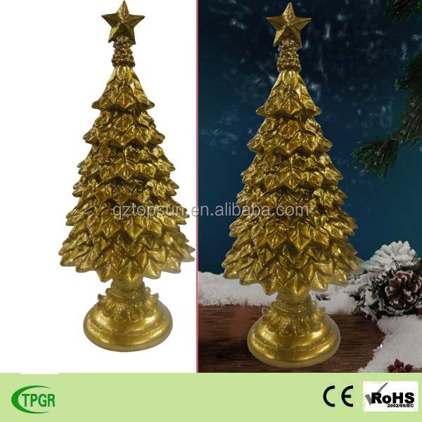 Polyresin golden Christmas tree decoration