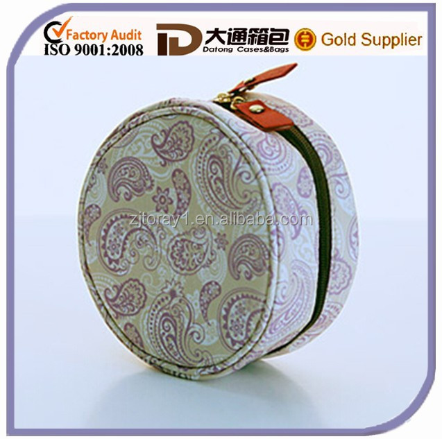 Alibaba Polyester Round Travel Cylinder Shape Cute Cosmetic Toilet Bag