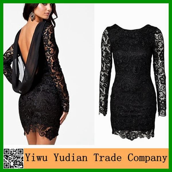 Lace Long Sleeve Open Back Backless Dresses Short One Piece Girls Party Dresses