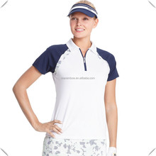 stylish design for 2016 Women's Floral sublimation printed Colorblock Quarter-Zip short Raglan sleeve Golf Polo T shirts