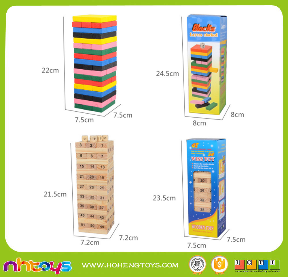 EDUCATIONAL WOODEN TOYS FOR 54PCS JENGA AND STACKLE SET