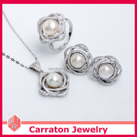 wholesale 925 sterling silver rhodium plated freshwater pearl jewelry set