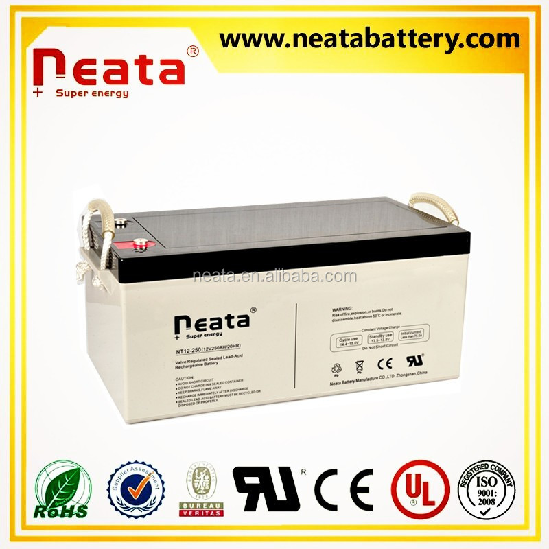 NEATA BATTERY Gel batteries 12V 250ah Solar energy and wind turbine system Made in China Manufacturer