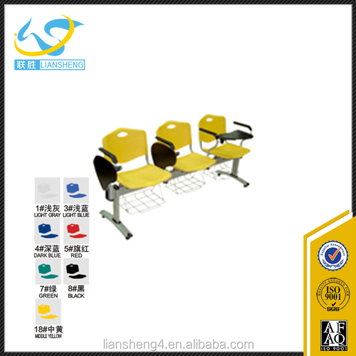 Used modern yellow training chair/students chair with armrest school furniture for sale