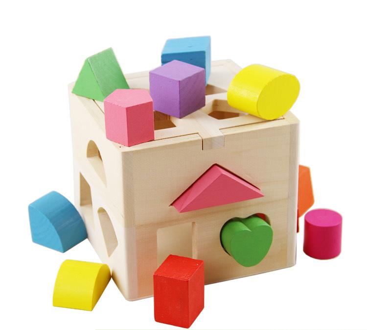 China Factory Wholesale Wooden Toys 13 Holes Intelligence Box 13pcs