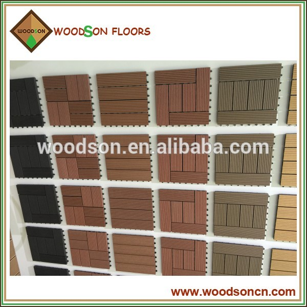 Grey color strips WPC decking tile project from china