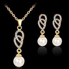 Fashion Jewelry Sets Gold Color Imitation Pearl Pendant Necklace Earrings Accessory For Women Party Wedding Jewelry Set