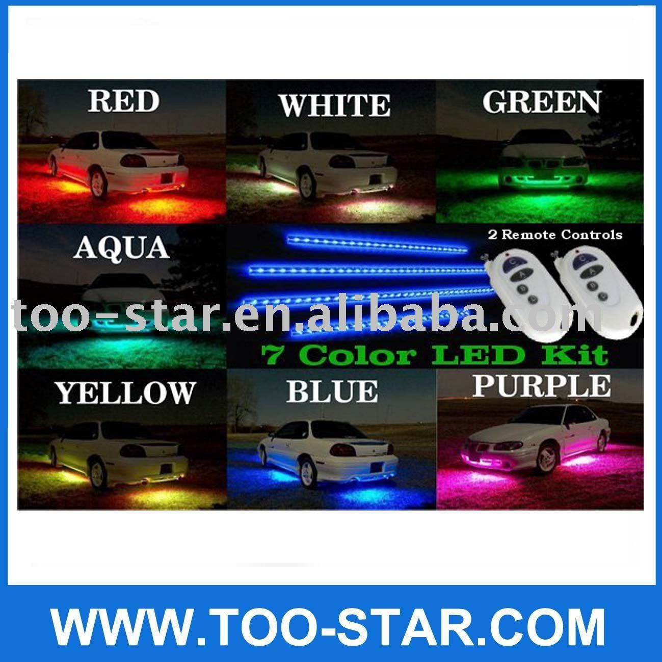 7 Color LED Underbody/Undercar Car Kit with REMOTE